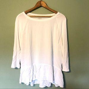 EUC | LOFT | White Soft Peplum Blouse 3/4 Sleeve